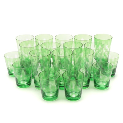 Green to Clear Thumbprint Water Glasses and Tumblers