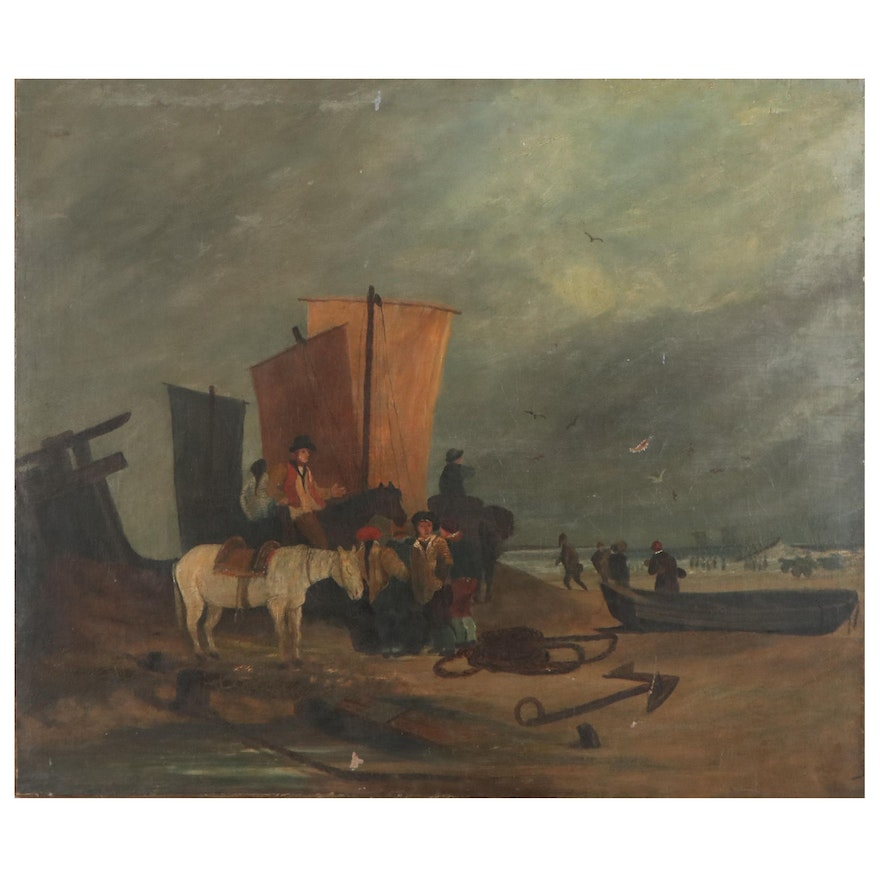 Continental School Oil Painting of Beached Boats, Mid-Late 19th Century
