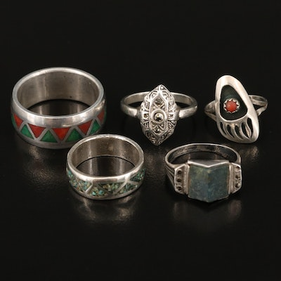 Sterling Silver Marcasite, Coral and Inlaid Rings