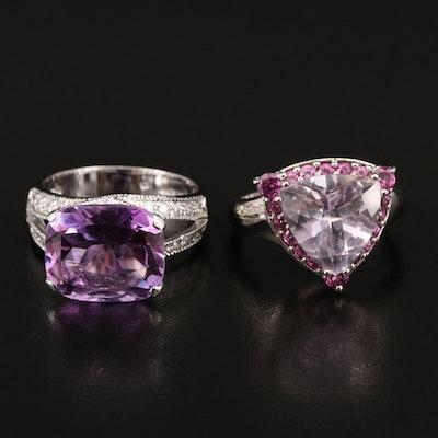 Sterling Silver Amethyst, Cubic Zirconia and Garnet Rings