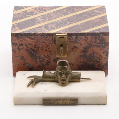 Hôtel Balzac Marble Fragment with Brass Inlaid Stone Box