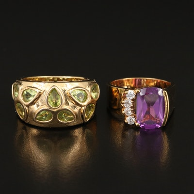 Sterling Silver Peridot, Sapphire and Cubic Zirconia Rings