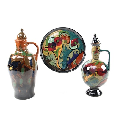 Gouda Dutch Art Pottery Majolica Pitchers and Charger, 1920s