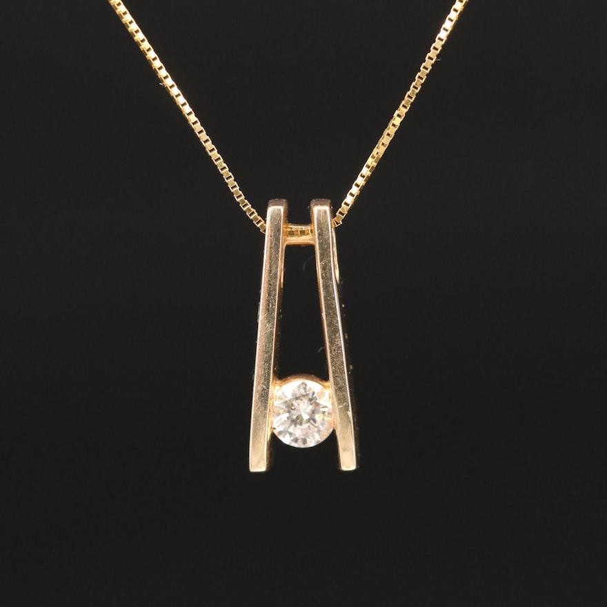 14K 0.23 CT Diamond Solitaire Necklace