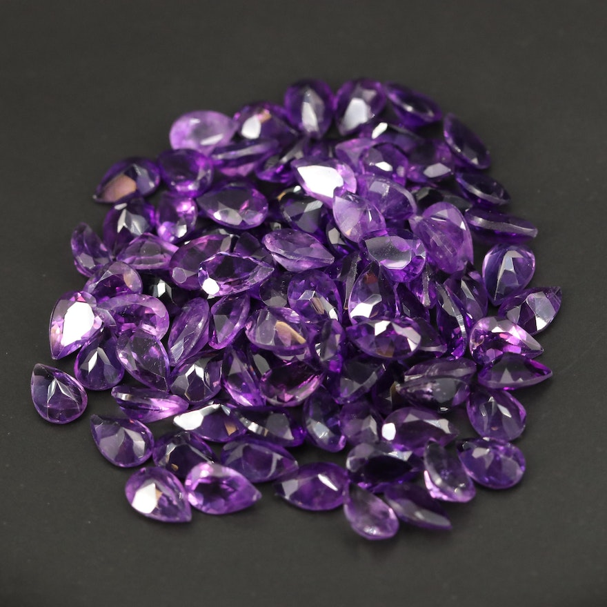 Loose 116.83 CTW Pear Faceted Amethysts
