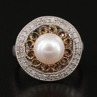 Sterling Silver Pearl and Diamond Circle Ring