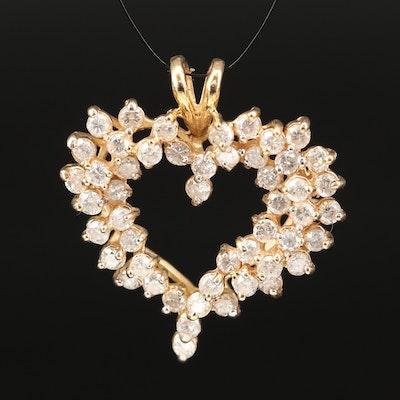 14K 3.00 CTW Diamond Heart Pendant
