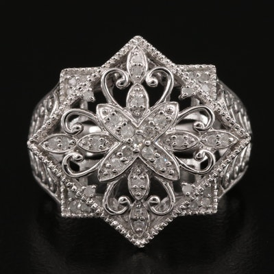 Sterling Silver Diamond Ring with Floral Openwork Pattern