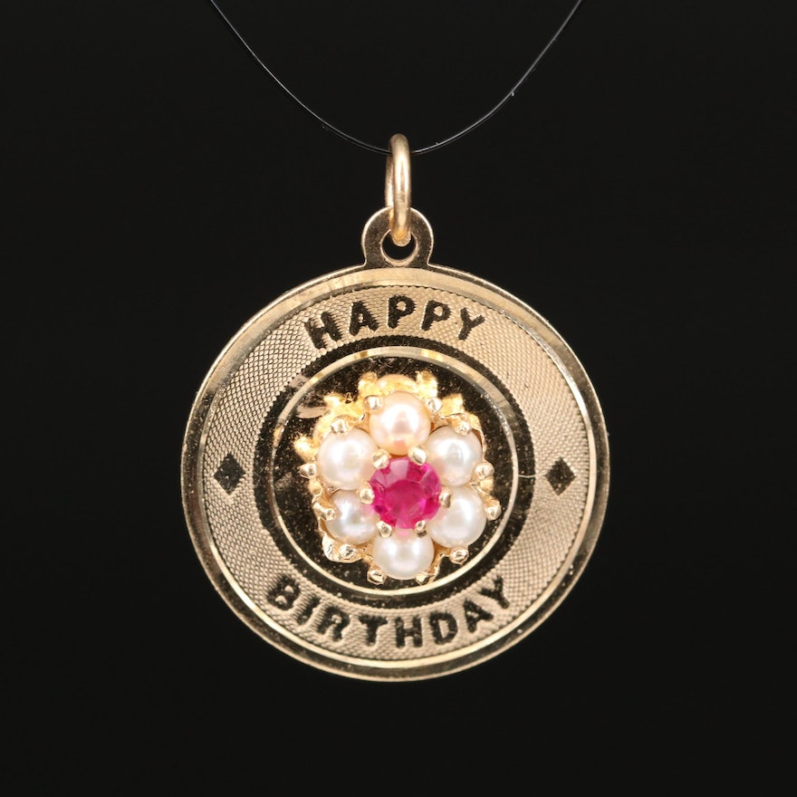 """14K Ruby and Pearl """"Happy Birthday"""" Charm Pendant"""