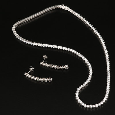 Sterling Cubic Zirconia Rivière Necklace and Graduated Drop Earrings