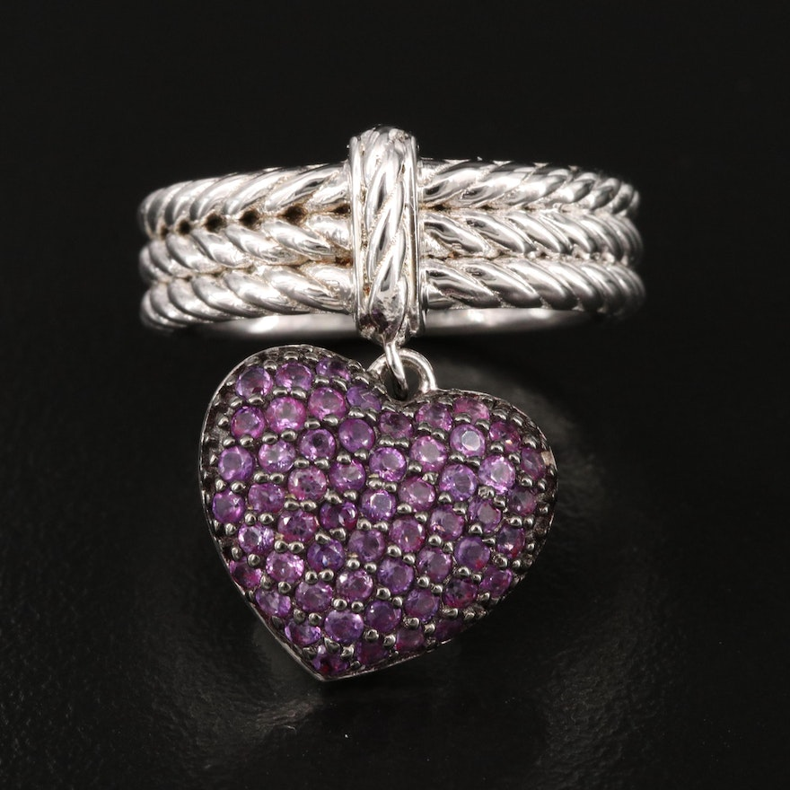 Sterling Silver Ring with Amethyst Heart Charm