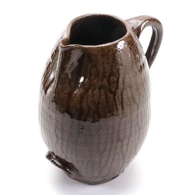 Mike Hanning Folk Art Wood Fired Ceramic Jug, 2002