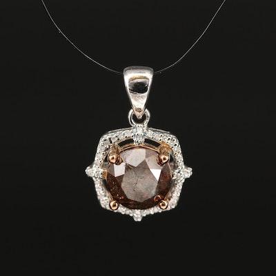 Sterling 1.87 CTW Brown Diamond and Diamond Halo Pendant