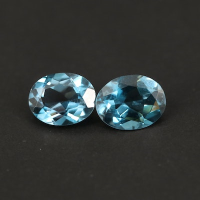 Matched Pair of Loose 4.09 CTW London Blue Topaz