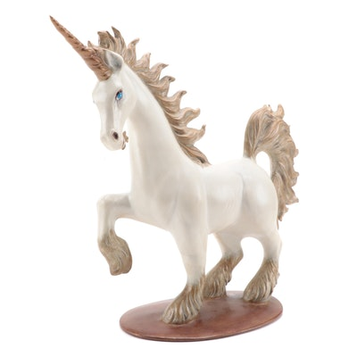 Hollow Cast Plaster Unicorn Figurine, Late 20th Century