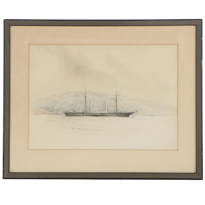 Watercolor Painting of Barge at Sea, Late 19th-Early 20th Century