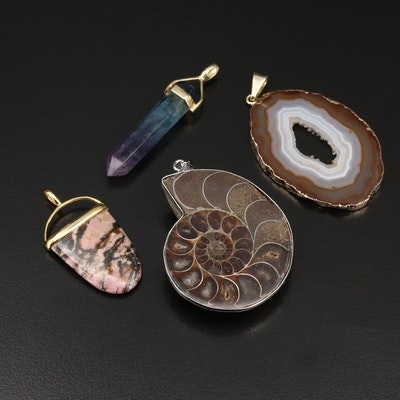 Agate, Fluorite and Gemstone Pendants Including Sterling