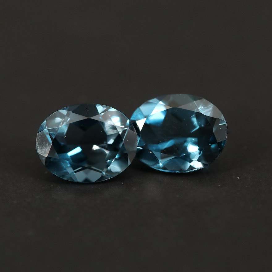 Loose 4.46 CTW Oval Faceted London Blue Topaz