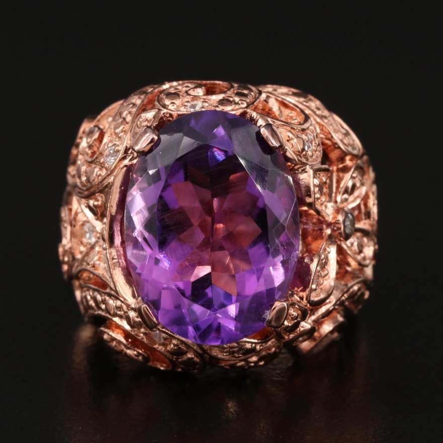 Sterling Silver Amethyst and Sapphire Ring with Openwork Pattern