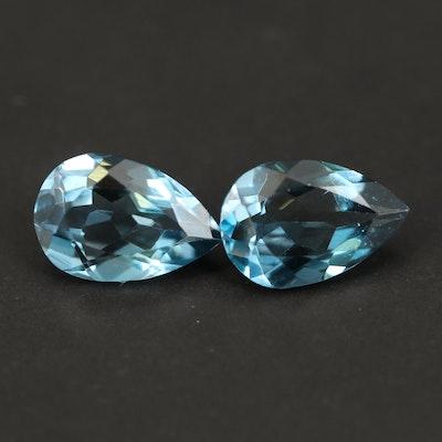 Loose Matched Pair of 7.27 CTW London Blue Topaz