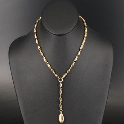 Fancy Link Adjustable Length Y Necklace