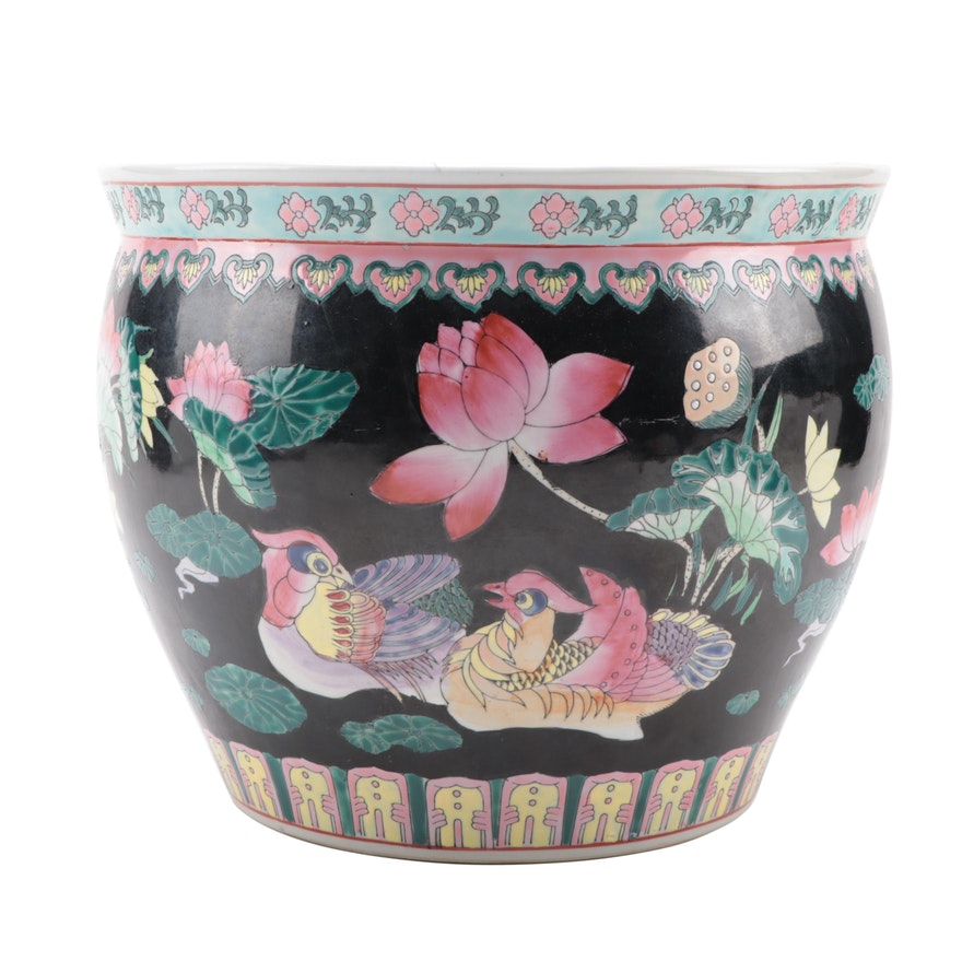 Chinese Famille Noire Ceramic Fishbowl Planter, Late 20th Century