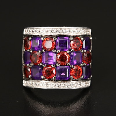 Sterling Checkered Ring Including Amethyst, Garnet and White Topaz