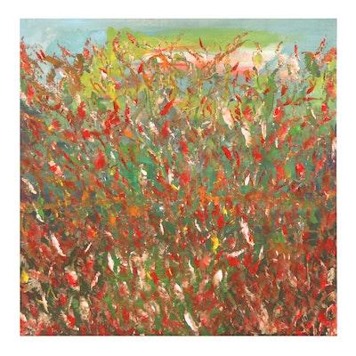 "Saul Gefen Acrylic Painting ""Spring,"" 2021"