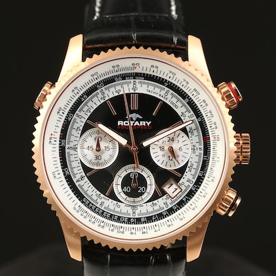 """Rose Gold Tone Rotary """"Aquaspeed"""" Chronograph Stainless Steel Wristwatch"""