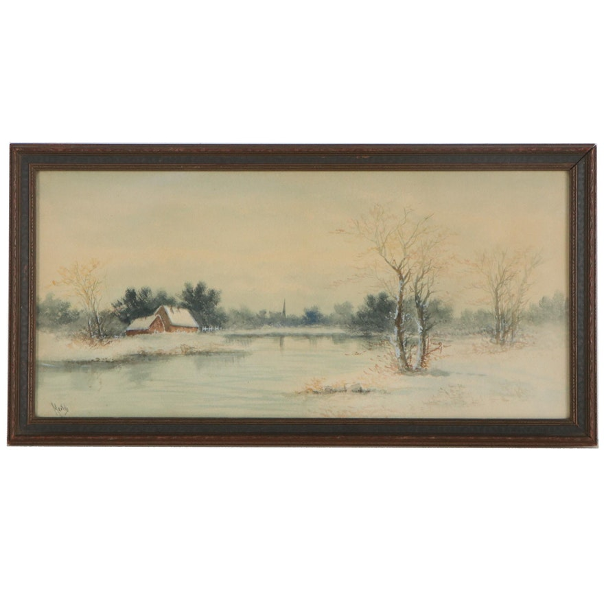 Winter Landscape Watercolor Painting with Cottage by Pond