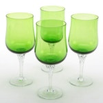 Tinted Green Twist Stem Glass Water Goblets, Late 20th Century