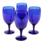 Cobalt Blue Glass Water Goblets, Late 20th Century