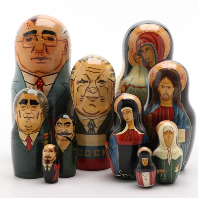 Handcrafted Russian Religious and Political Matryoshka Nesting Dolls