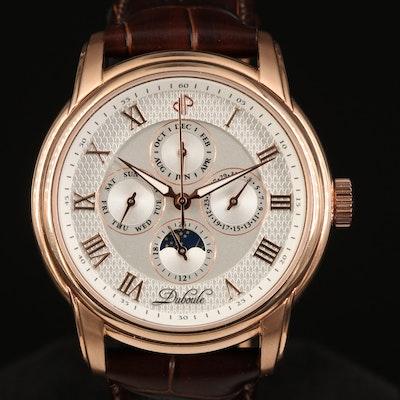 Rose Gold Tone Duboule Triple Calendar Moonphase Wristwatch