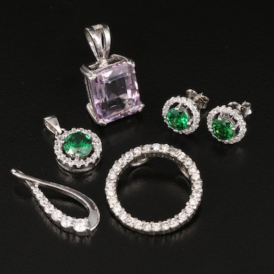 Sterling Silver Amethyst and Cubic Zirconia Pendants with Halo Stud Earrings
