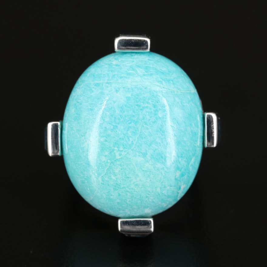 Sterling Amazonite, Topaz and Cubic Zirconia Statement Ring
