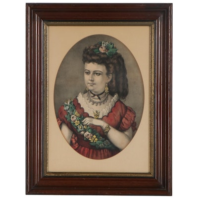 Currier & Ives Hand-Colored Lithograph, Late 19th Century