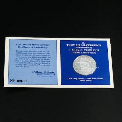 1 Troy Ounce .999 Fine Silver Harry Truman Centennial Round, 1984