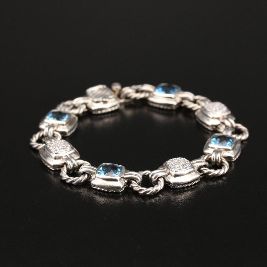 David Yurman Sterling Topaz and Diamond Bracelet