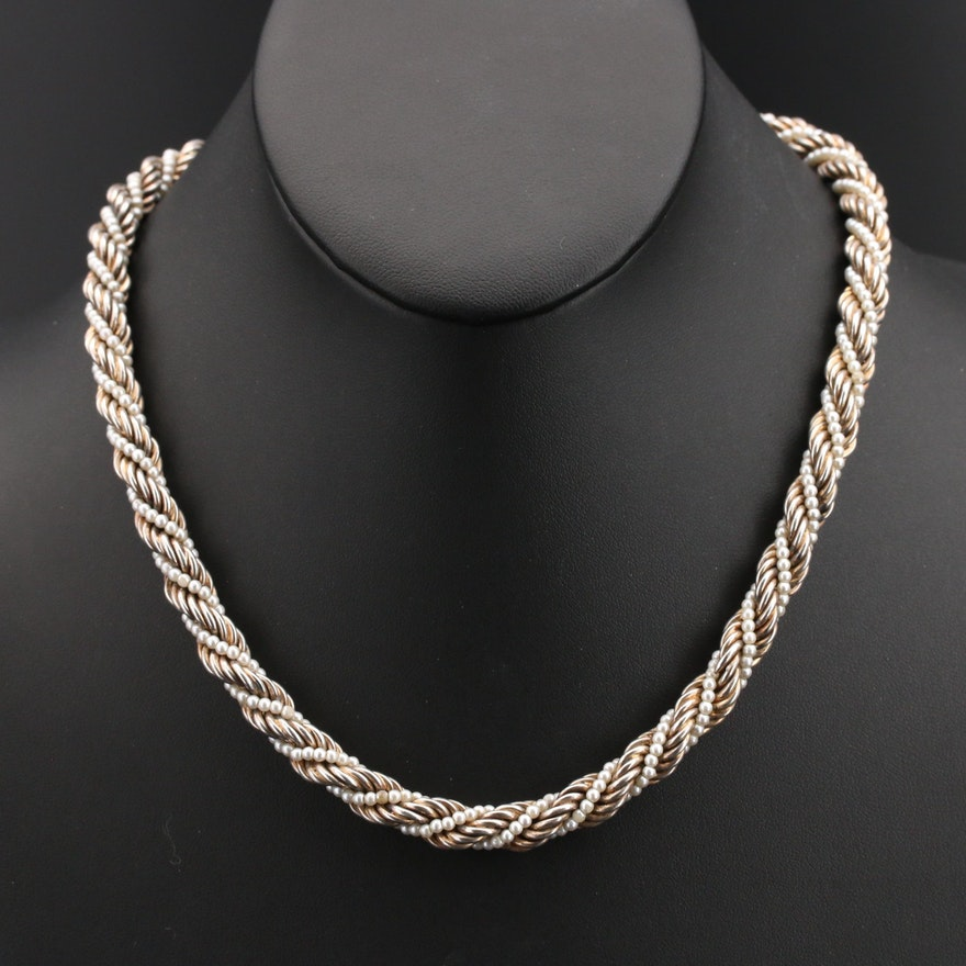 Italian Sterling Pearl Twisted Necklace
