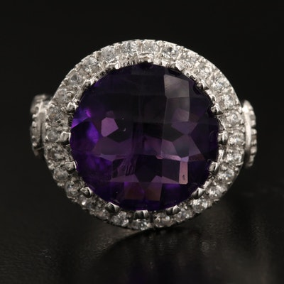 Sterling Amethyst and Zircon Ring