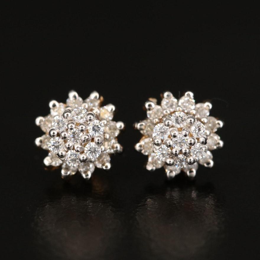 10K Cubic Zirconia Cluster Earrings with 14K Diamond Jackets