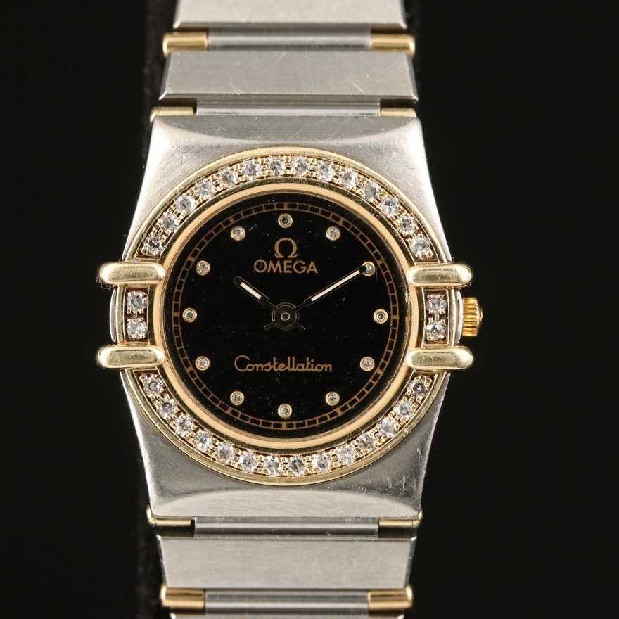 Omega Constellation 18K Gold, Diamond and Stainless Steel Wristwatch