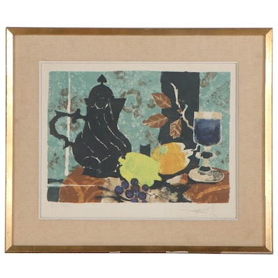 Yves Ganne Still Life Color Lithograph, Mid-Late 20th Century