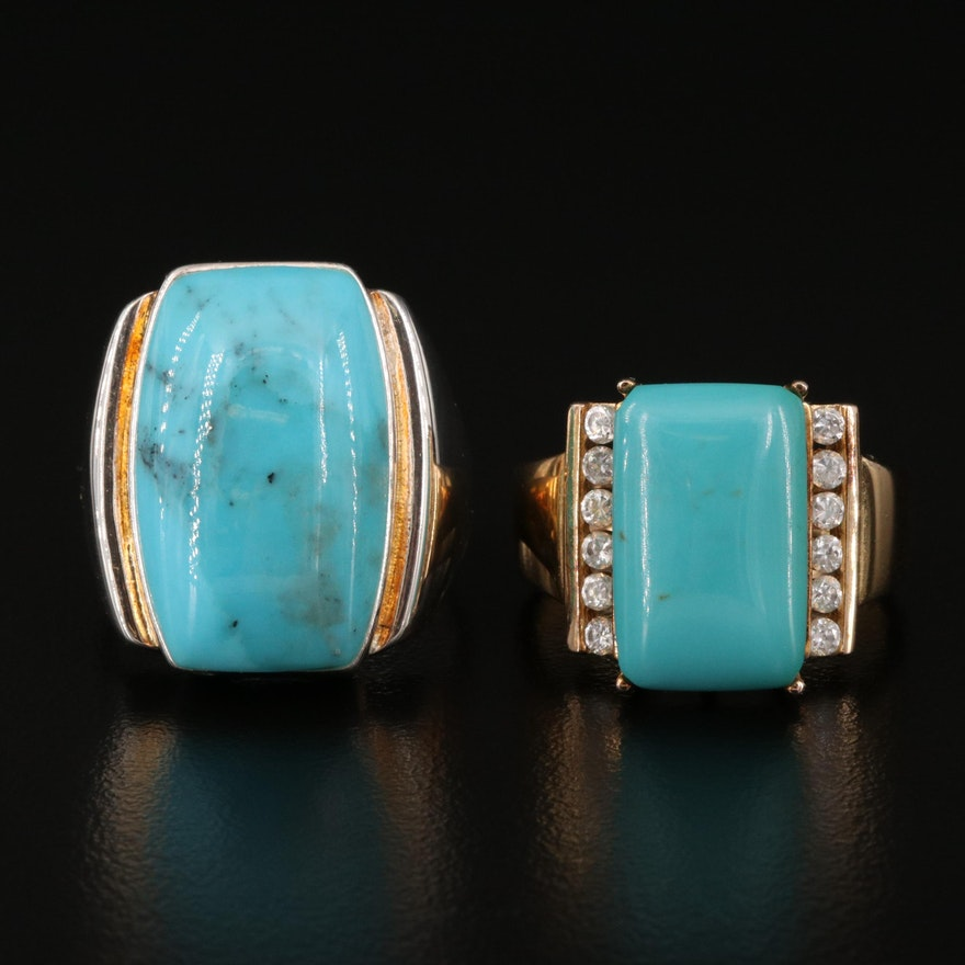 Sterling Turquoise and Cubic Zirconia Rings