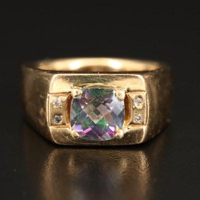 14K Mystic Topaz and Diamond Ring