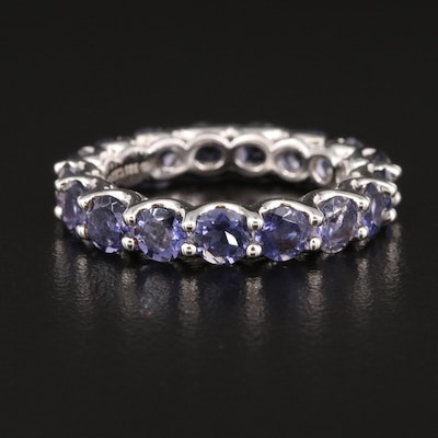 Sterling Silver Iolite Eternity Band