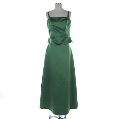 Watters & Watters Green Satin Two-Piece Sleeveless Evening Dress Set
