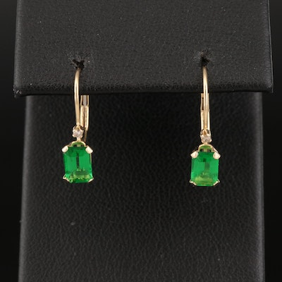 14K Diamond and Faceted Green Glass Earrings
