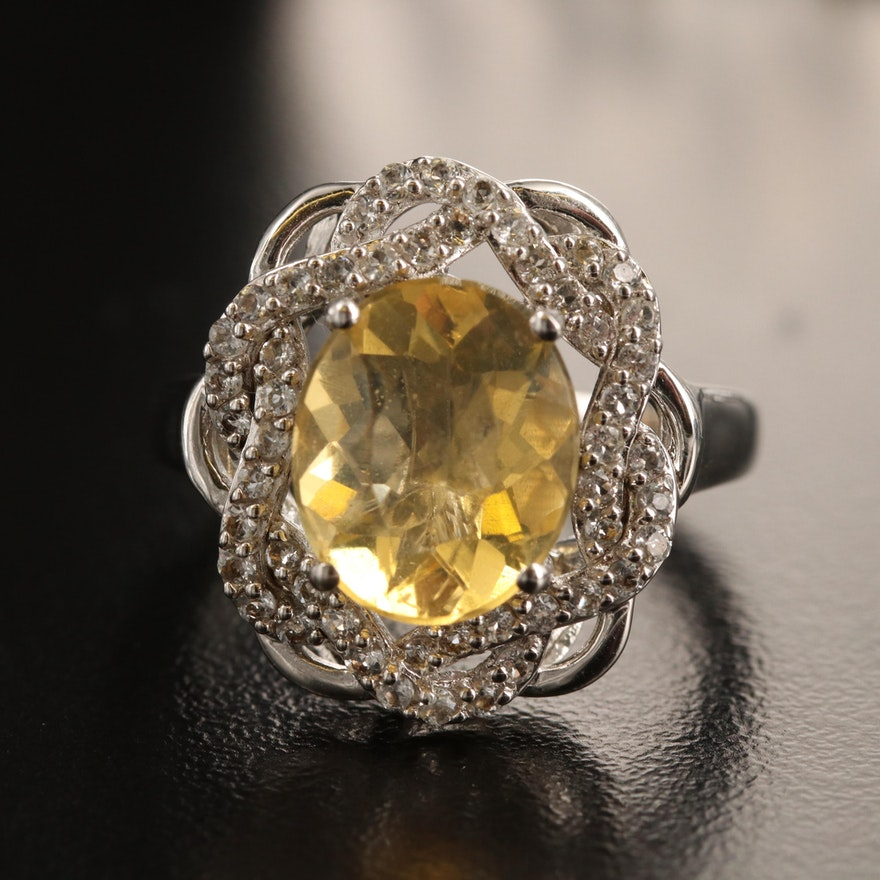 Sterling Common Opal and Topaz Ring